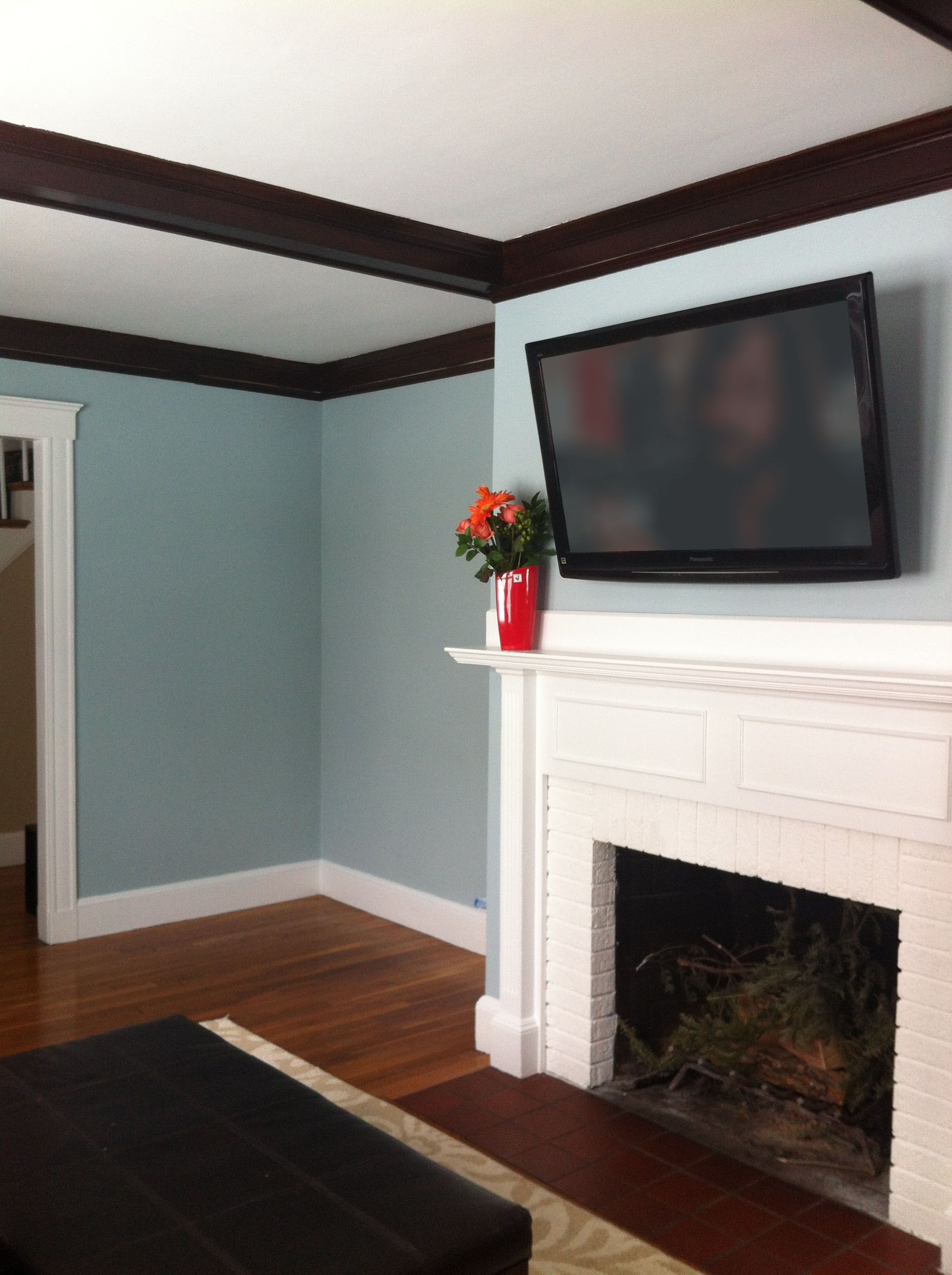 Living Room in Benjamin Moore Yarmouth Blue Paint | For ...