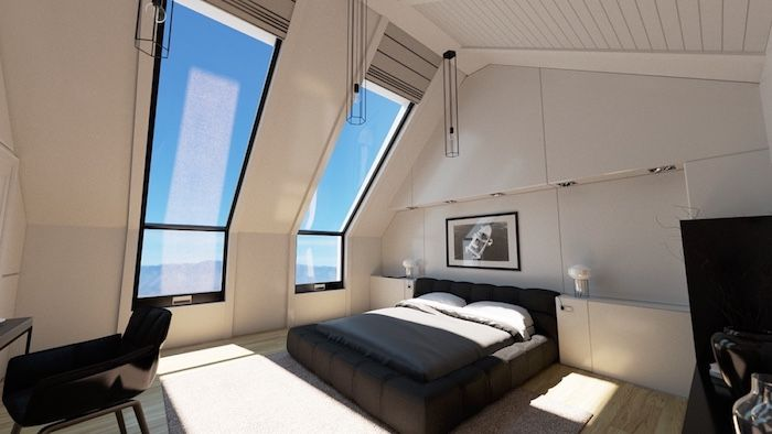 wohnung gestalten viel natürliches licht im zimmer schwarzes bett - grose fenster wohnzimmer