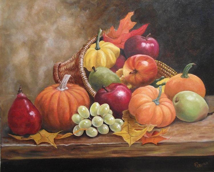 Bien connu TABLEAU PEINTURE potirons raisin poires pommes - nature morte aux  SN04