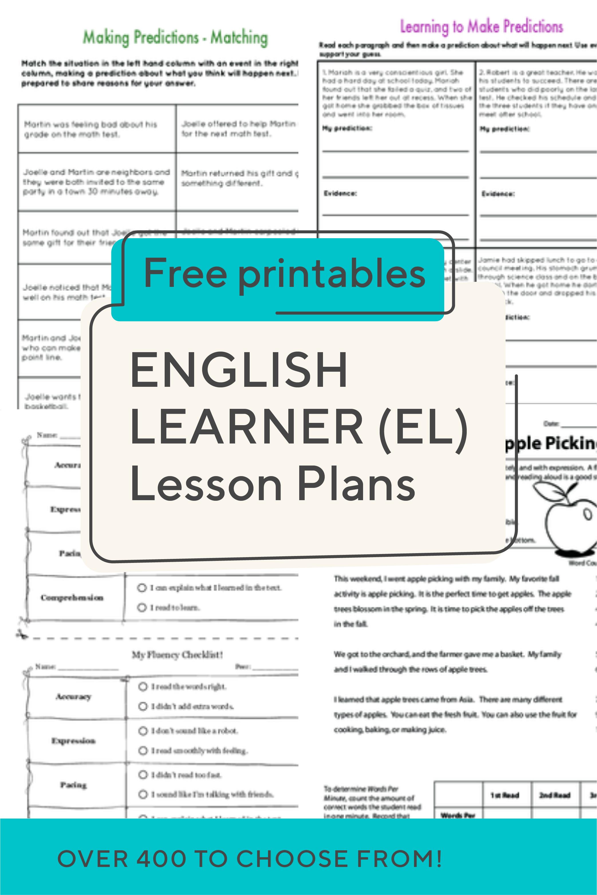 English Learner El Lesson Plans
