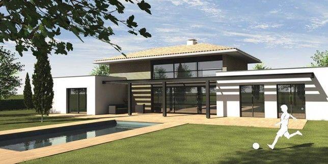 En haute garonne le toit en pente se rebiffe maison maison toit terrasse toiture maison et - Maison contemporaine toit 4 pentes ...