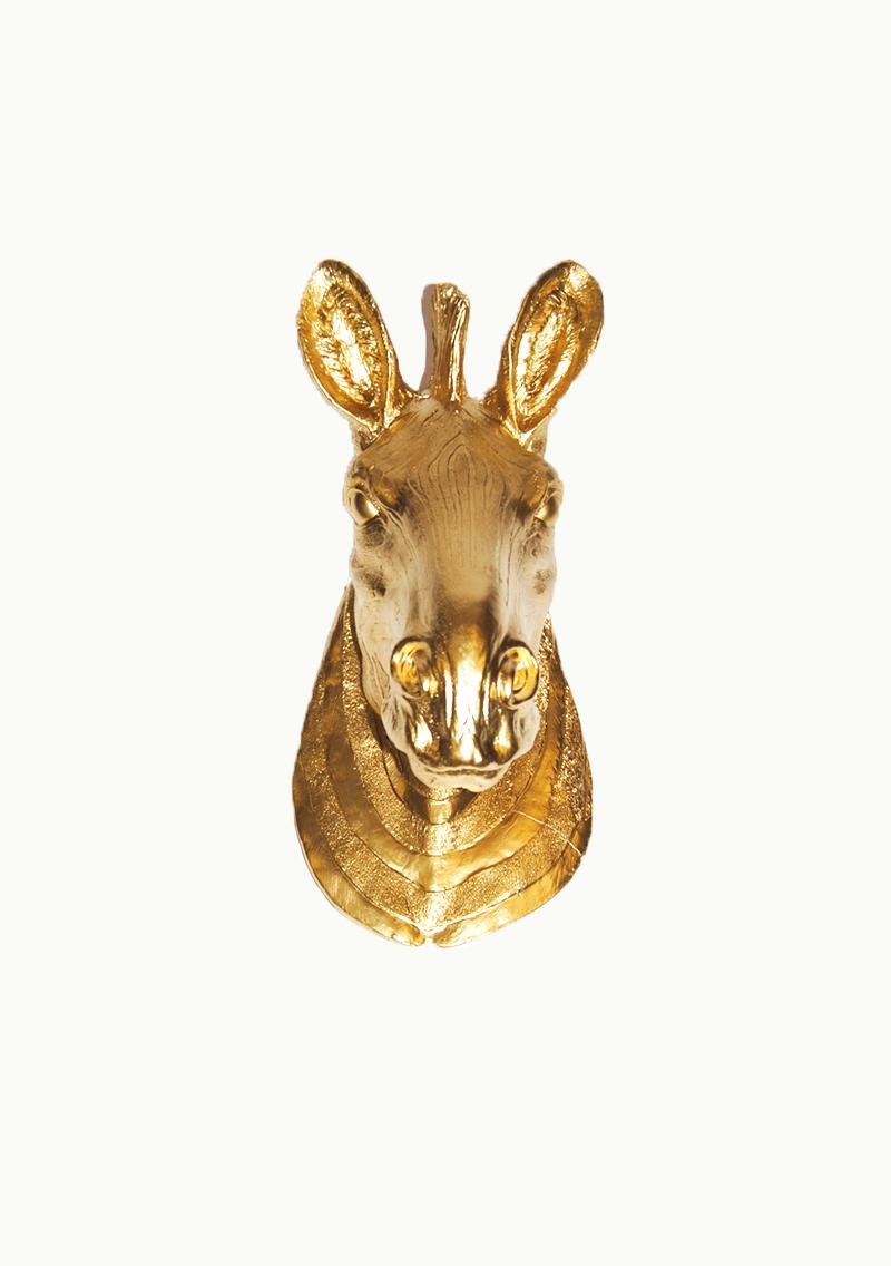 White Faux Taxidermy - The Chevron | Faux Zebra Head | Faux Taxidermy | Gold Resin, $84.99 (http://www.whitefauxtaxidermy.com/product/zebra-head-faux-taxidermy-gold-resin)