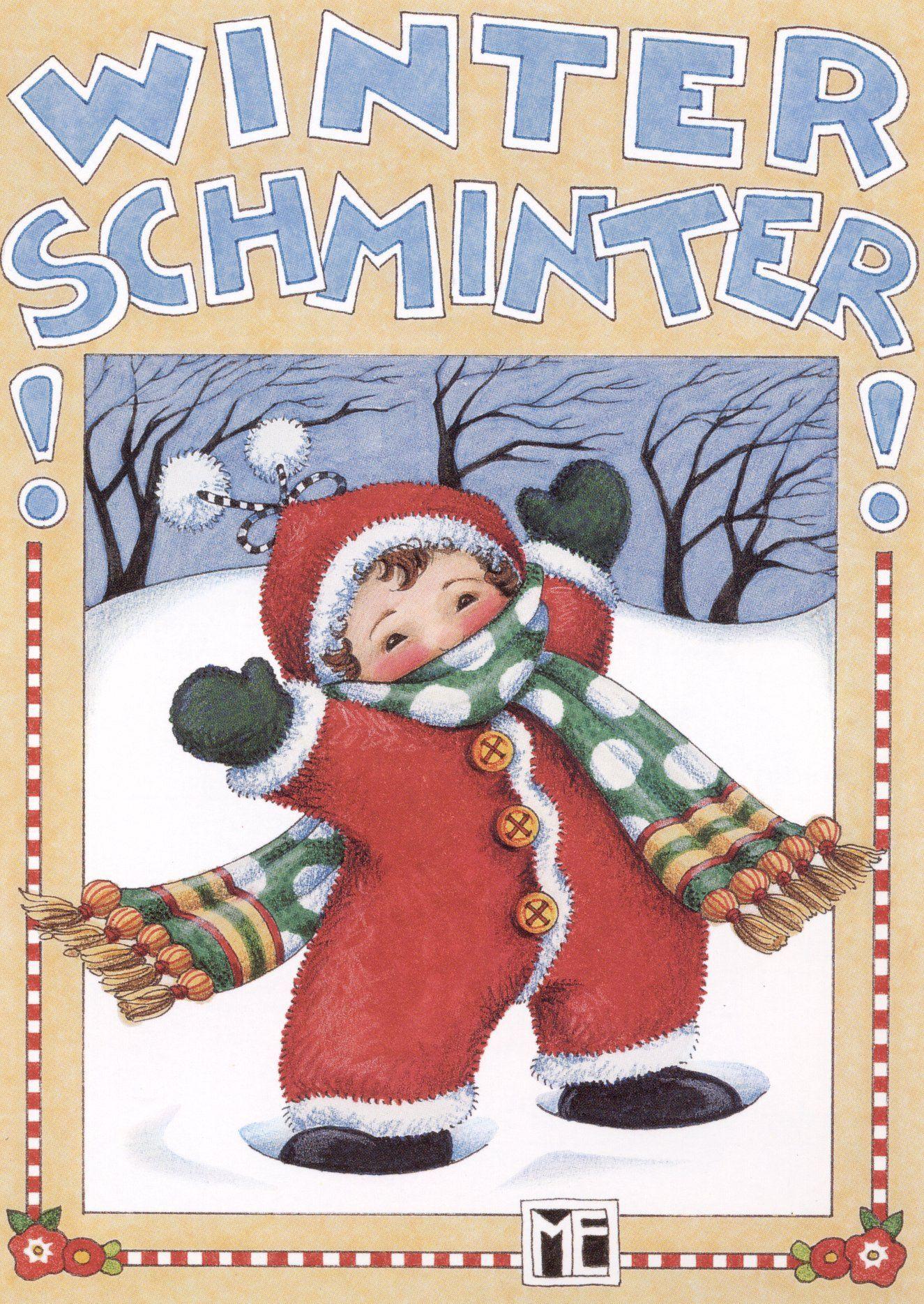 6 Cards /& Envelopes New Mary Engelbreit Christmas Notecards Winter Schminter
