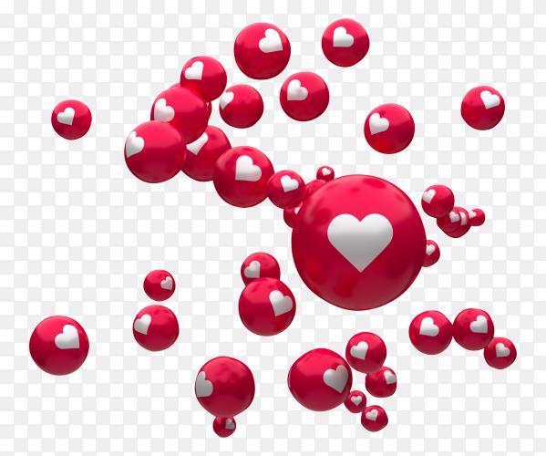 Facebook Reactions Emoji 3d Render Balloon Symbol With Heart Png Emoji Symbols Balloons
