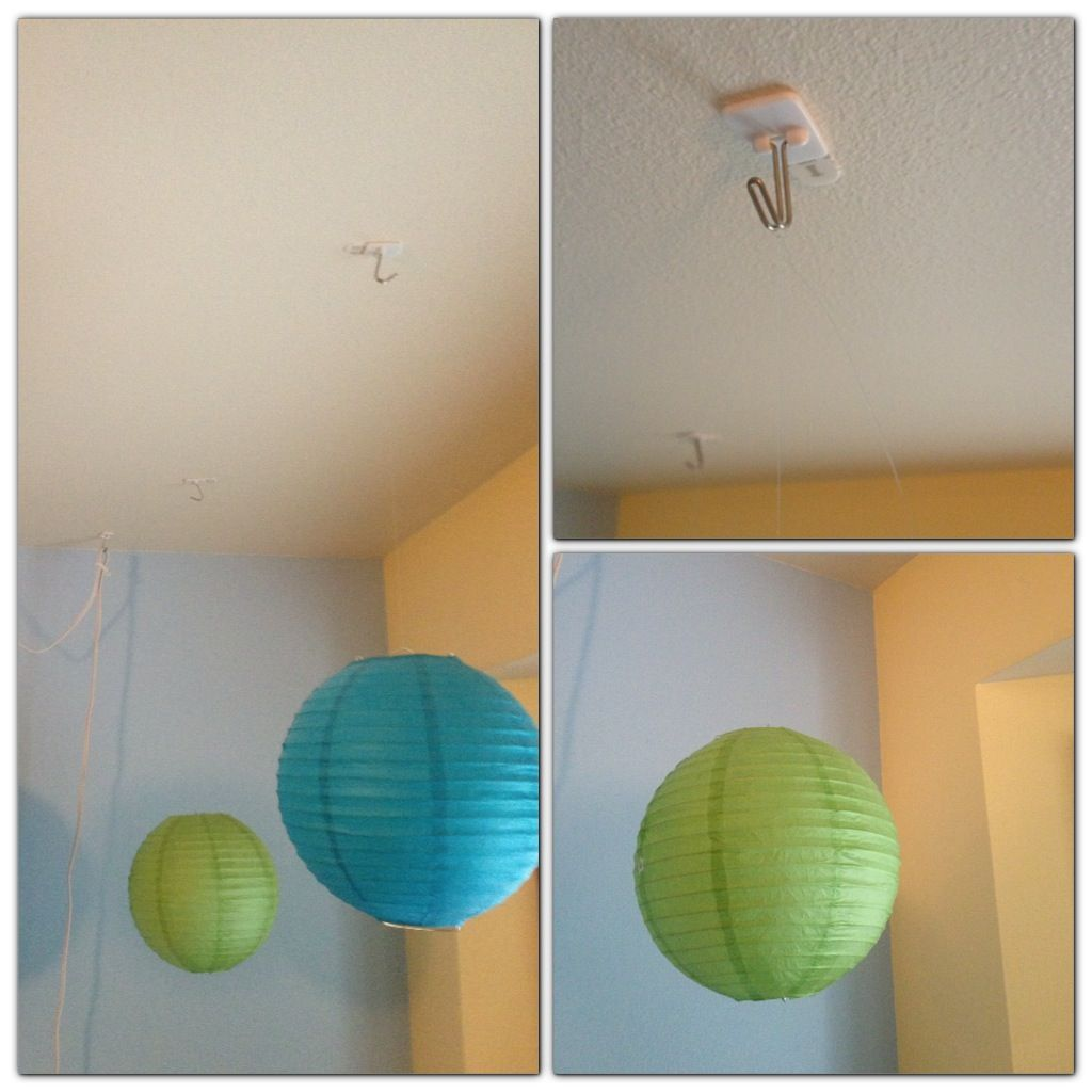Hanging Paper Lanterns Without Putting Holes In Your Ceiling Small Command Hook Placed On The Ceil Hanging Paper Lanterns Paper Lanterns Bedroom Diy Classroom