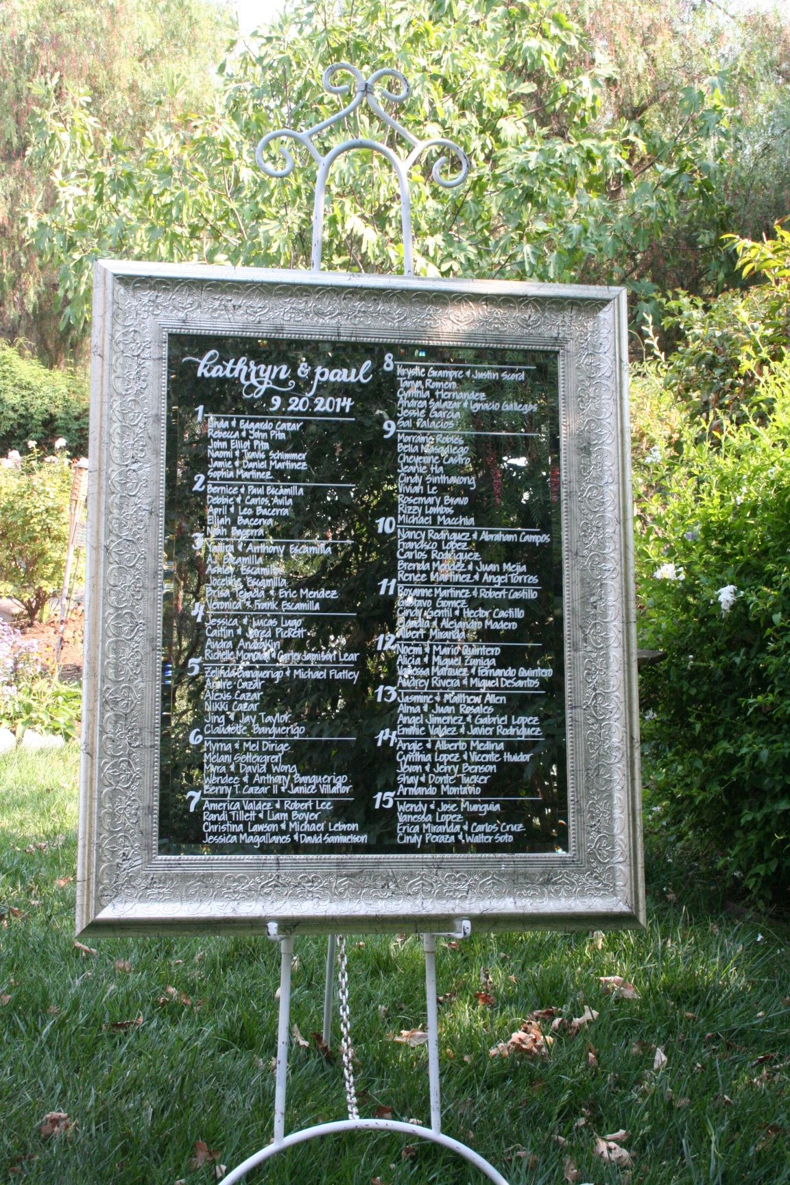 Silver Leaf Framed Seating Chart Mirror Custom Wedding Seating