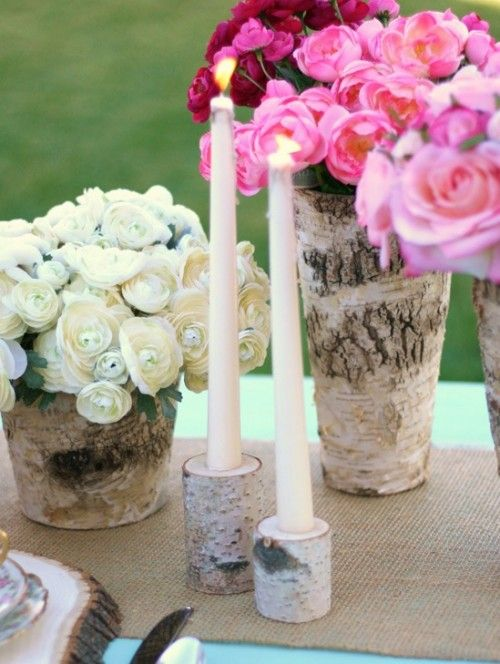 birch candle holders this could be an easy diy sk dm wedding rh pinterest com