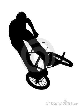 Silueta de ciclista en su bicicleta Bmx. Fondo blanco.   Fondos ...