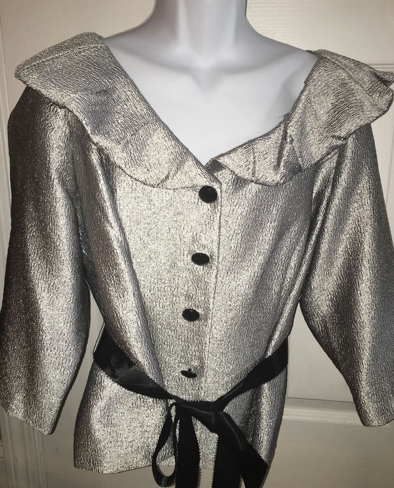 Dressbarn Collection Jacket 16W Silver Cocktail Formal 3 4 Sleeve Ribbon Belt | eBay