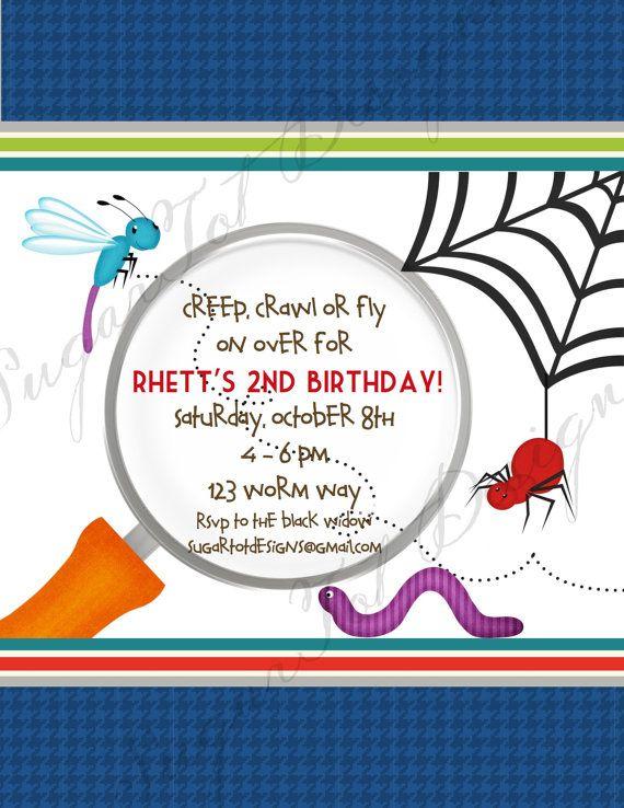 Bug Birthday Party Invitation Bugs Garden