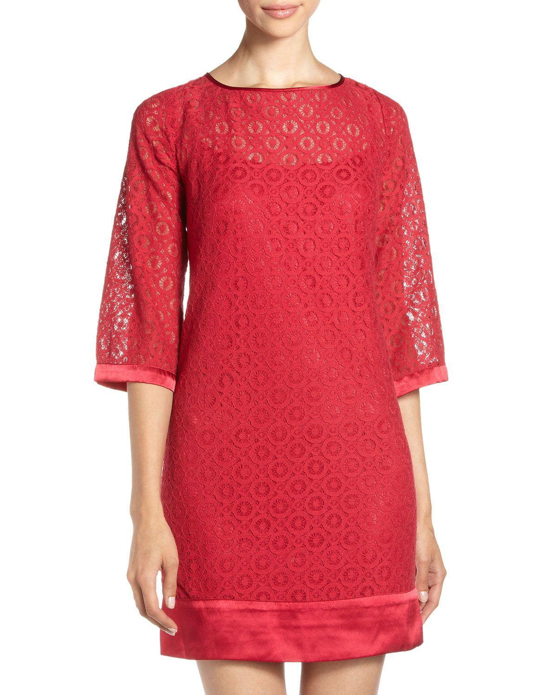 Cute red lace shift dress