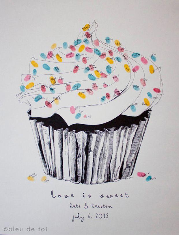 Love is Sweet: ein Fingerabdruck-Gästebuch von bleu de toi - Lieschen heiratet
