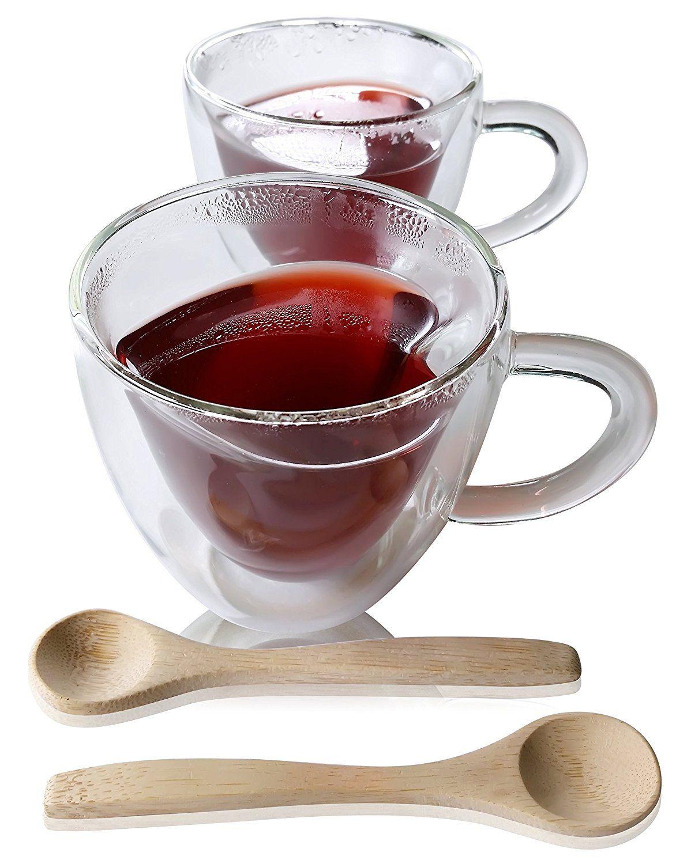 2 Pack Double Wall Coffee Mug Insulated Bamboo Glass Tea Coffee Cup with Lid