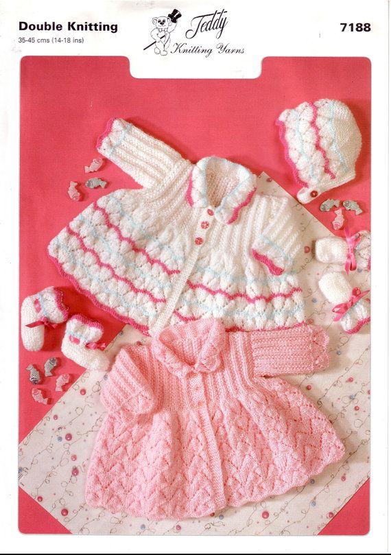 df4385997876 Vintage PDF BABY Knitting Pattern - Teddy 7188- cardigan matinee ...