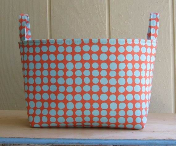 Charmant Fabric Storage Bin Organizer Coral Robins Egg Blue By Lucky17, $20.00