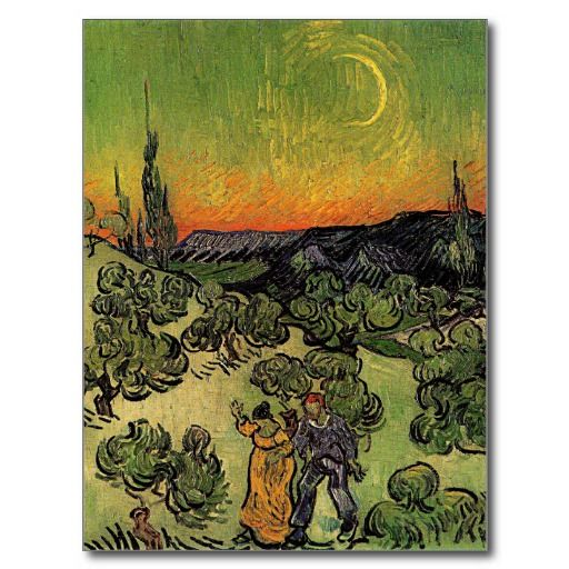 Van Gogh's 'Landscape w/ Couple Walking' Postcard.   #Vincent #VanGogh #Art #Painting #Landscape #Couple #VangoghCustom #Abellera