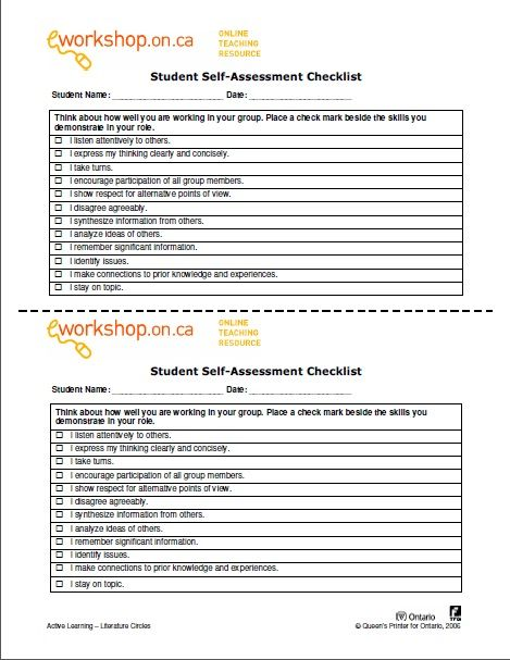 EWorkshop Student SelfAssessment Checklist  Student Self