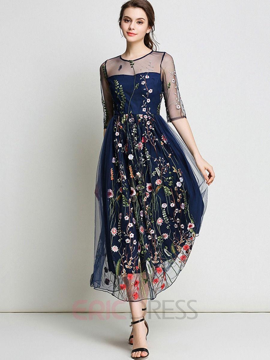 e7f8ea38c515 Ericdress Mesh Embroidery High-Waist Maxi Dress Sheer Embroidered Dress
