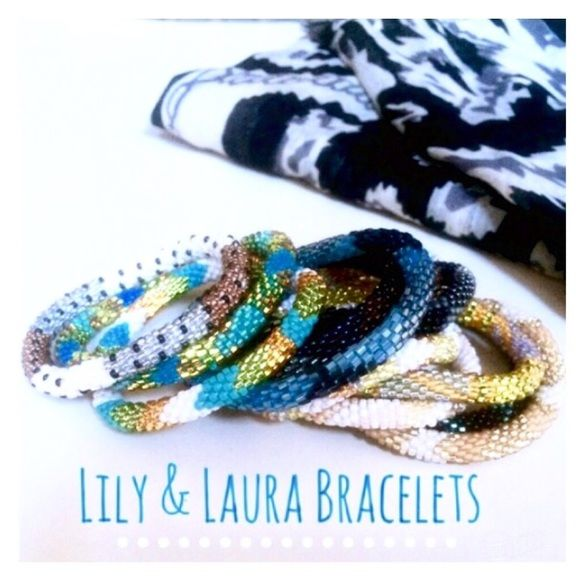 ••①② LiLy & LauRa BraceLeTs•• Adorable Lily & Laura colorful glass beaded layering bracelets! Perfect condition/never worn! Super fun & cute to layer with all styles! Two sets of six•• {or mix & match}..$9 EacH. Lily & Laura Jewelry Bracelets