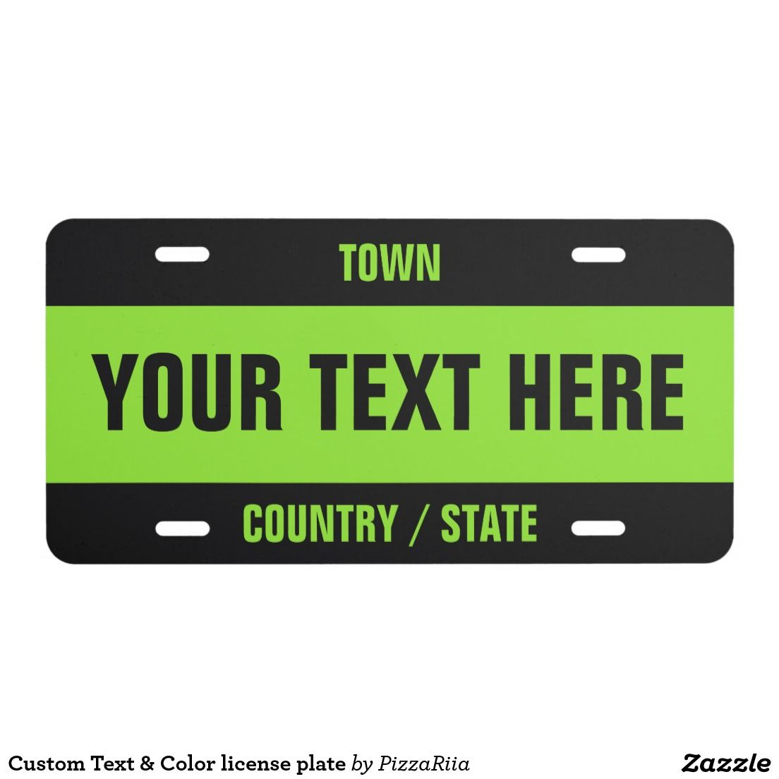 Custom Text & Color license plate - Bright green, neon | Bling for ...