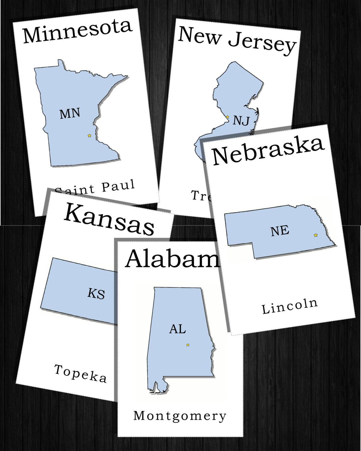 Download All 50 States And Capitals Flashcards With State Shape And Abbreviations