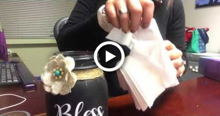 Refilling a mason jar tissue dispenser with Kleenex Ultra Soft tissues