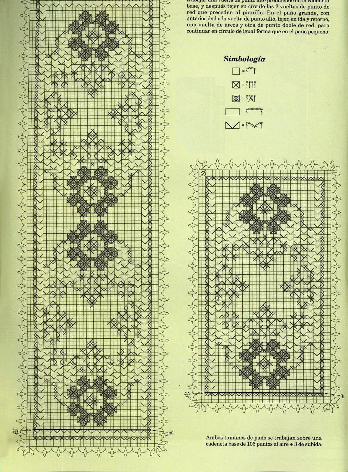 trittico filet rettangolare fiori (2) - magiedifilo.it punto croce  uncinetto schemi gratis hobby creativi 2f5981b02442