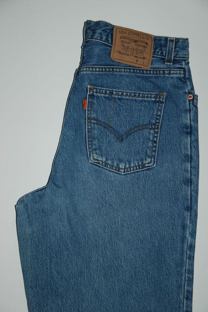 Vintage LEVIS 726 ORANGE TAB Blue Straight Tapered Jeans High Waist W 34 L  31