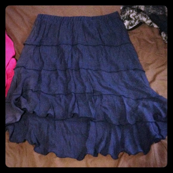 Ruffled Skirt Blue, ruffle knee length skirt, longer in back Iz Byer Skirts Midi