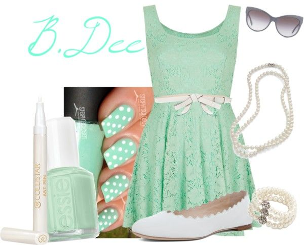"""""""Mint and White Polka Dot Nails inspired look"""" by bianca-dee-944 ❤ liked on Polyvore"""