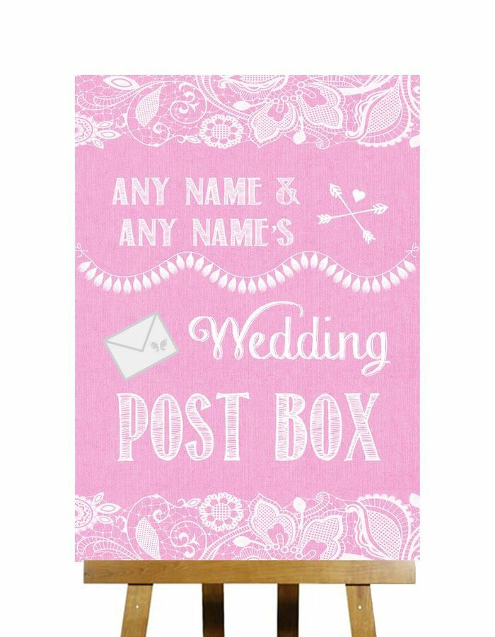 Burlap /& Lace Card Post Box Personalised Wedding Sign