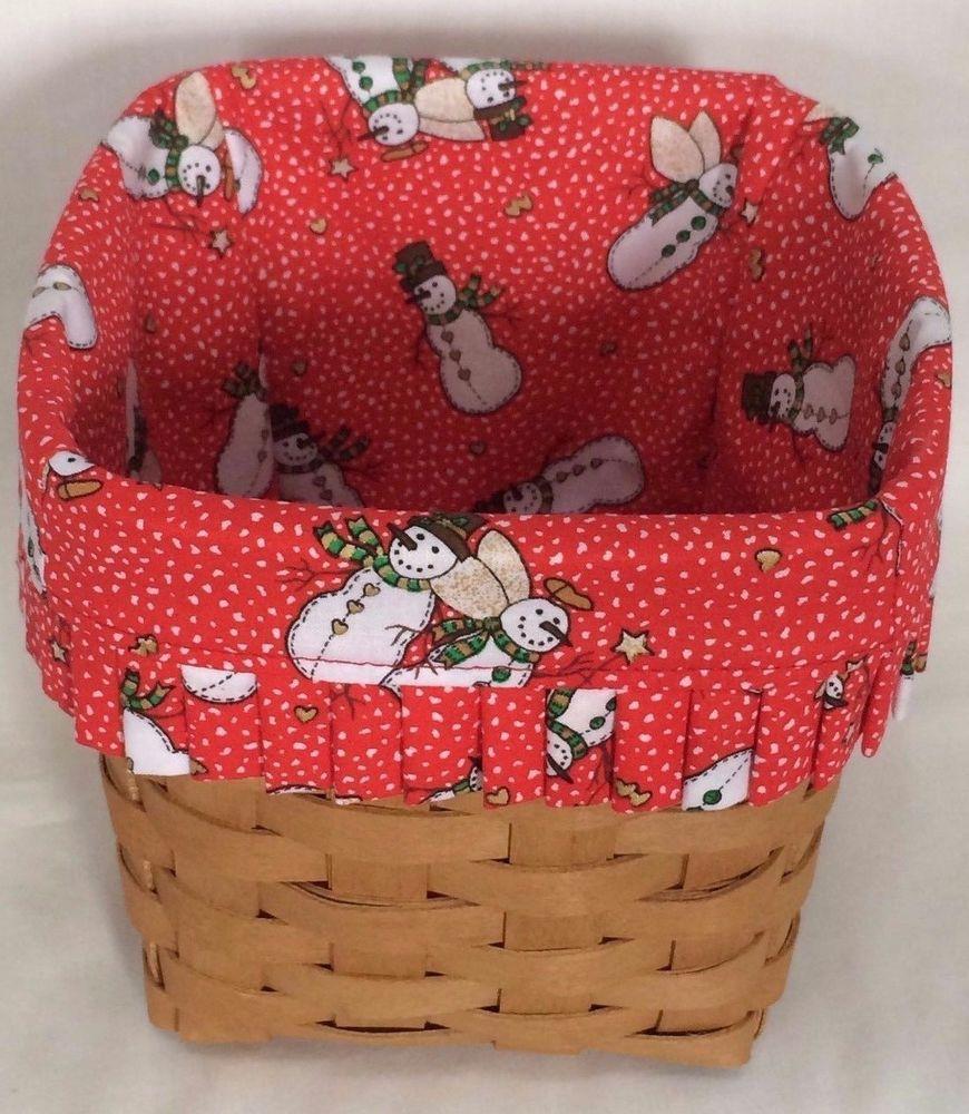 Custom Snowmen Angel Liner for Longaberger Tissue Basket Basket not Included   eBay