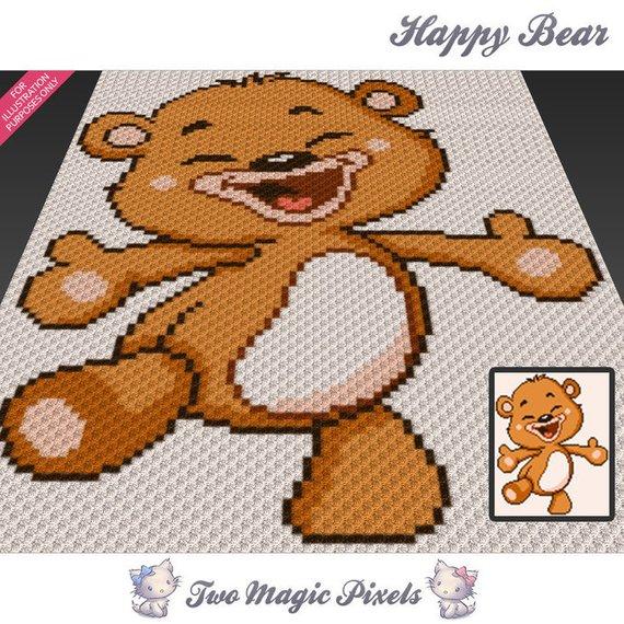 Happy Bear Crochet Blanket Pattern C2c Cross Stitch Knitting