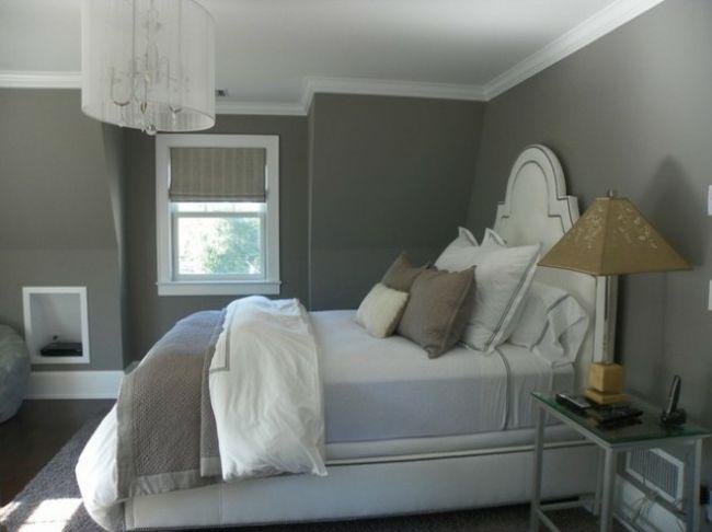Murs et ameublement chambre tout en gris tendance | Gris, Chambres ...