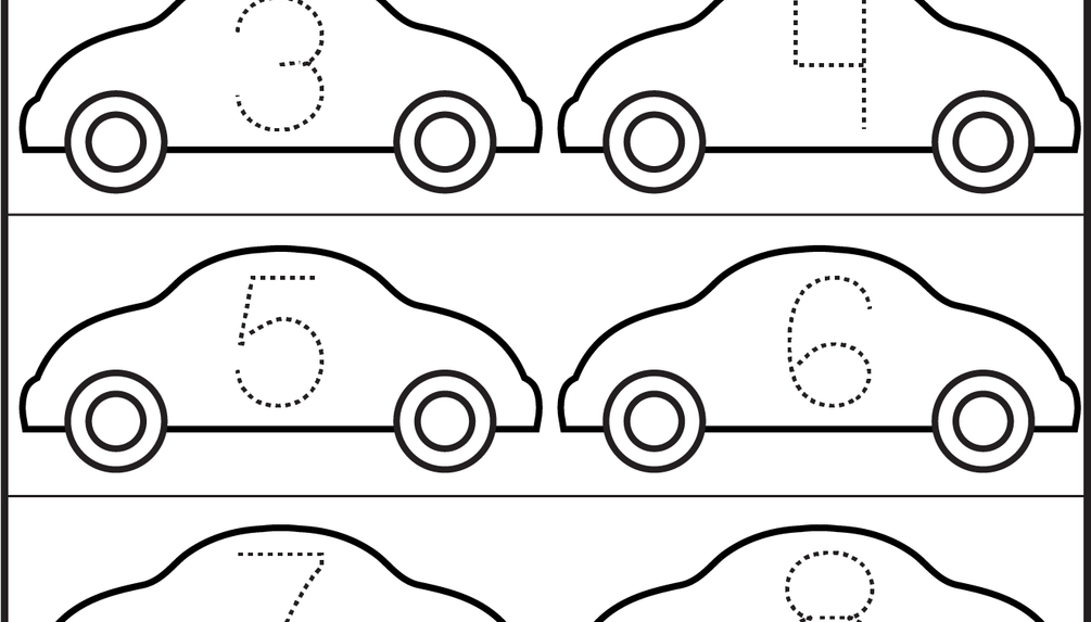 number tracing cars 1 worksheet craft fun for kids pinterest pre school pre school. Black Bedroom Furniture Sets. Home Design Ideas