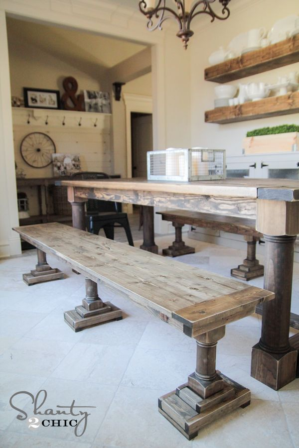 LOVE This DIY Dining Bench! Free Printable Plans And Tutorial At Www.shanty