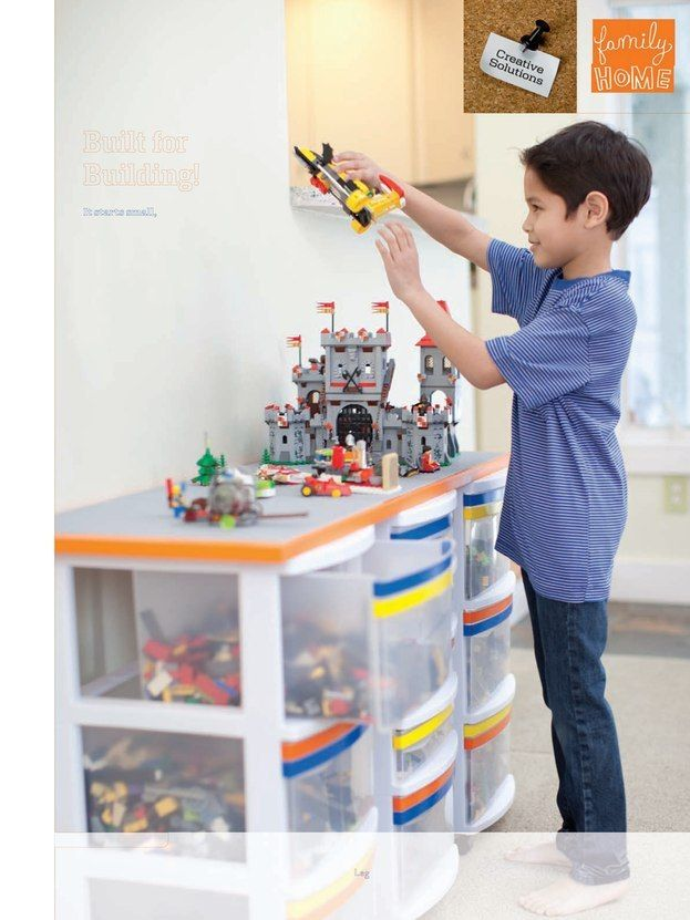 Lego storage & display center. We created a system like this one (from Family Fun magazine). It's working well for us.
