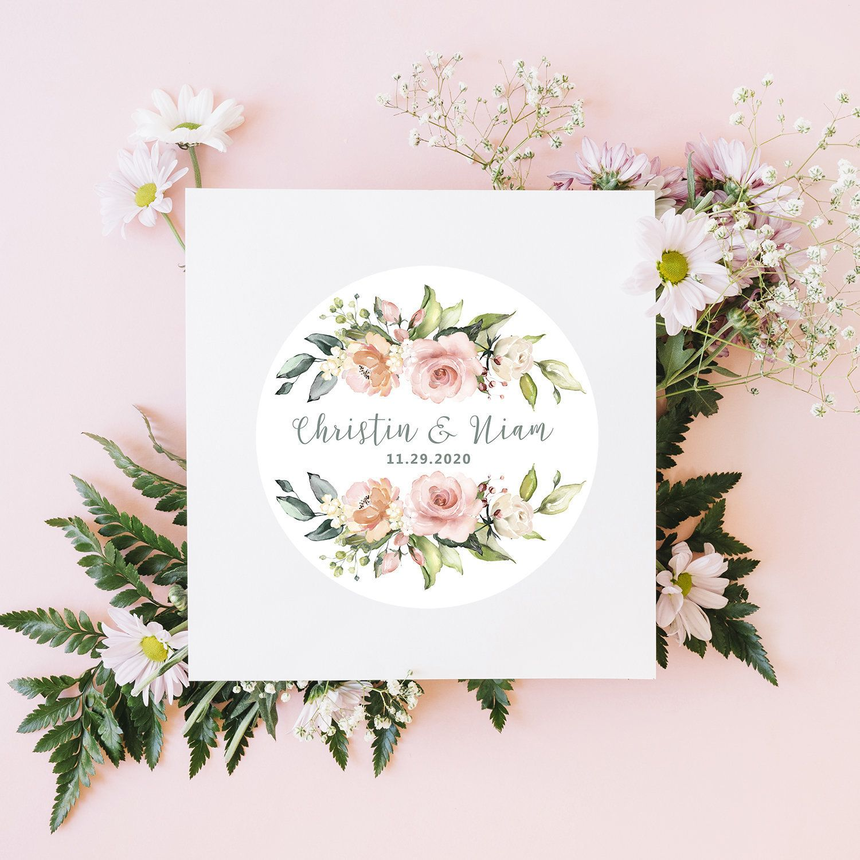 24 Floral Wedding Stickers Flower Wedding Label Wedding Etsy Wedding Stickers Wedding Labels Wedding Favor Stickers