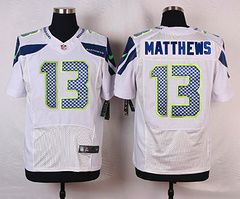Men's Seattle Seahawks #13 Chris Matthews White Road NFL Nike Elite Jersey