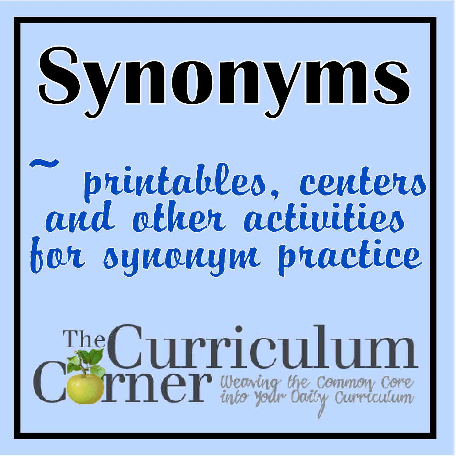 synonyms activities vocabulary activities and curriculum