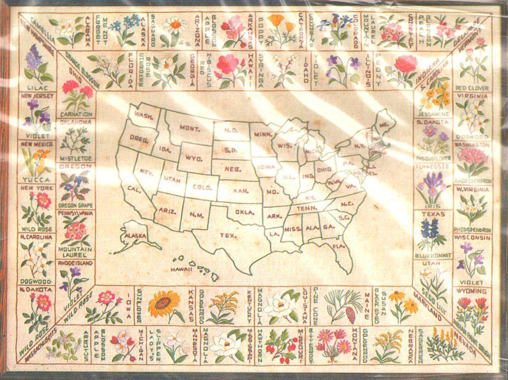 """VINTAGE PARAGON UNITED """"STATES' FLOWER MAP"""" SAMPLER CREWEL"""