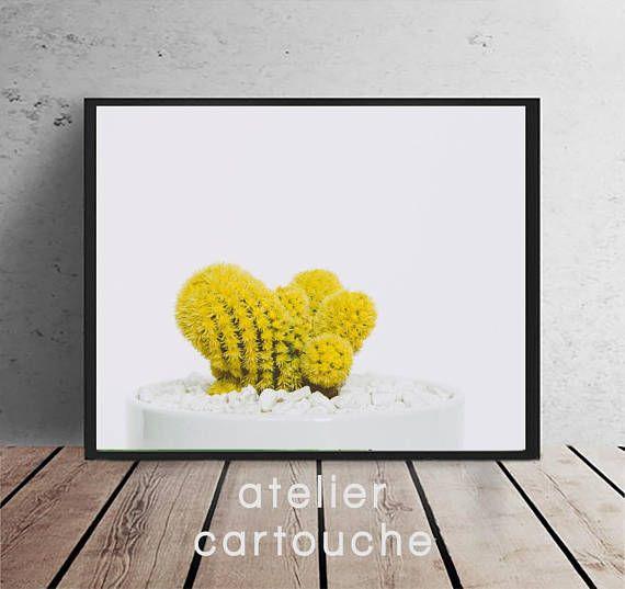 Cactus Print Minimalist Garden Plant Art Yellow Cactus | Imprimés ...