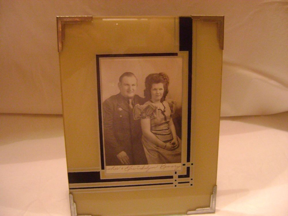 Details About Vintage 6x8 Glass Art Deco Picture Frame