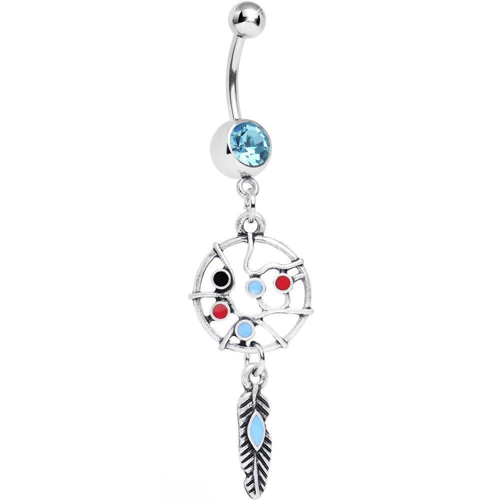 Dream catcher belly piercing  Single Aqua Gem Web of Life Dreamcatcher Belly Ring  Gems and Products