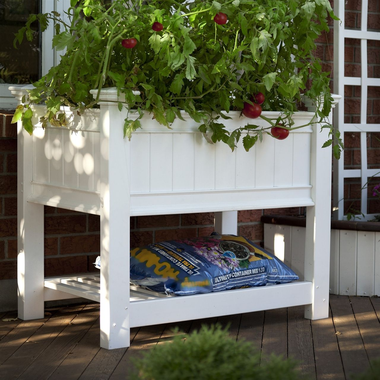Elevated Planter Raised Grow Bed In White Vinyl Raised Garden