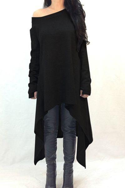 Slash Neck Irregular Hem Loose Dress BLACK: Casual Dresses | ZAFUL ...