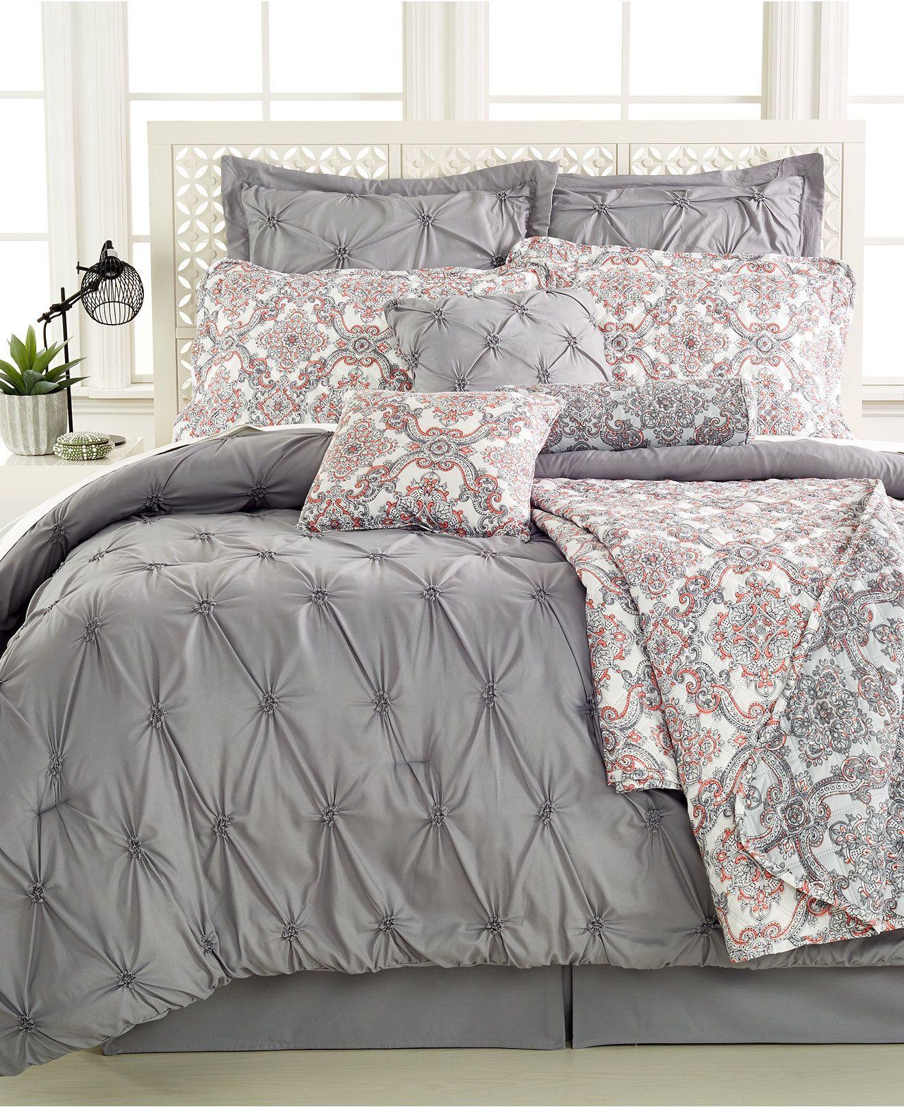 Jasmine Grey 10Pc. Queen Comforter Set Bed in a Bag