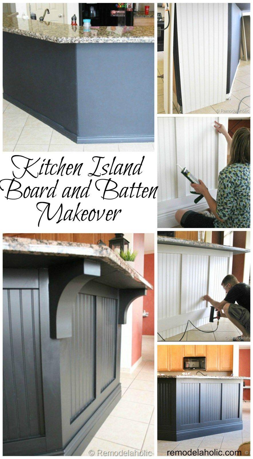 Kitchen island updated board and batten kitchen in