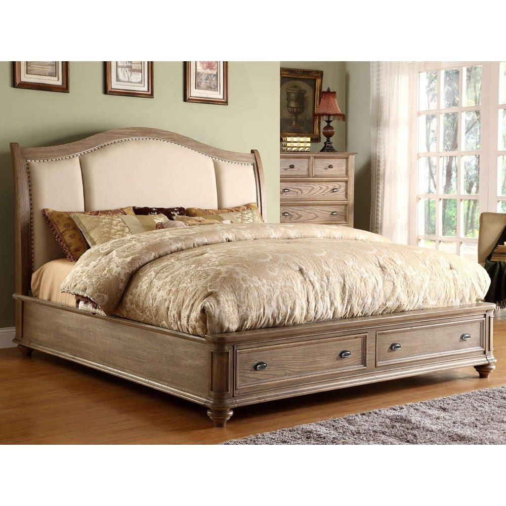 Coventry upholstered sleigh storage bed in weathered driftwood by riverside furniture humble Master bedrooms with upholstered beds