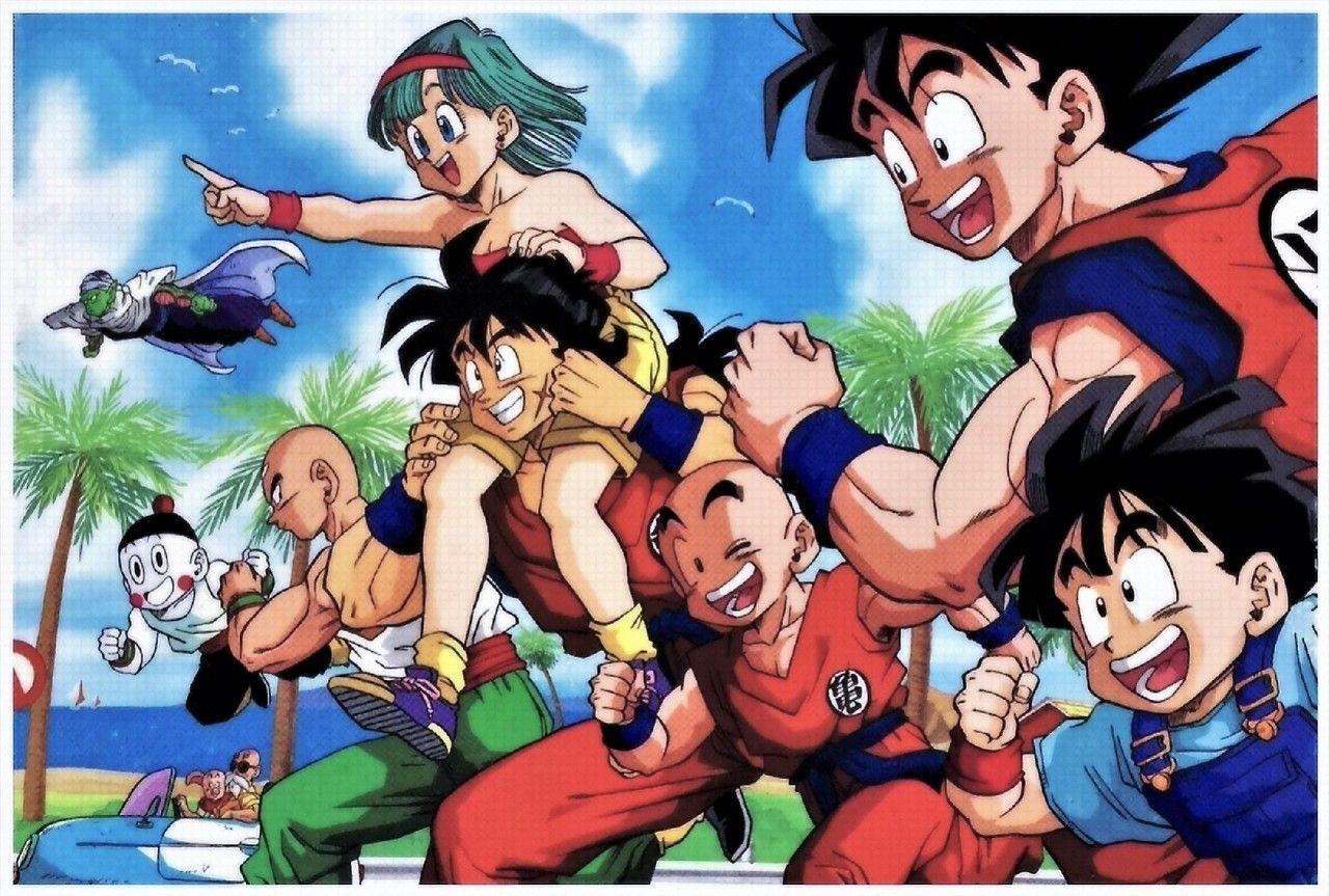 Bulma Yamcha Goku Gohan Krillin Piccolo Tien Chiaotzu Master Roshi And Oolong Personajes De Dragon Ball Personajes De Goku Dragones